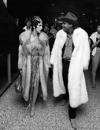 Cher and Sylvester attend the 1978 Disco Convention Banquet.  Love the coat!