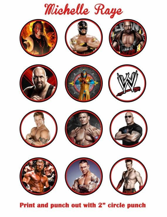 WWE printable cupcake toppers - Personalized too cute! WWE party - copy coloring pages wwe belts
