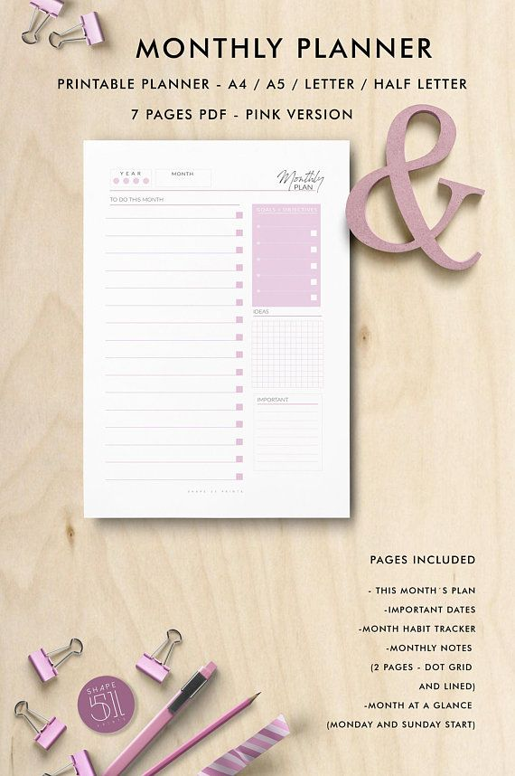 pink monthly planner printable planner pages printable notes