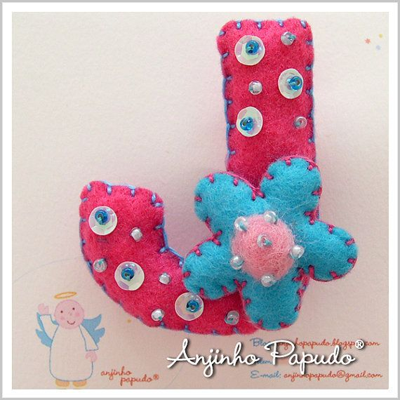 Letter Brooch J felt pin embroidered brooch a by anjinhopapudoShop.