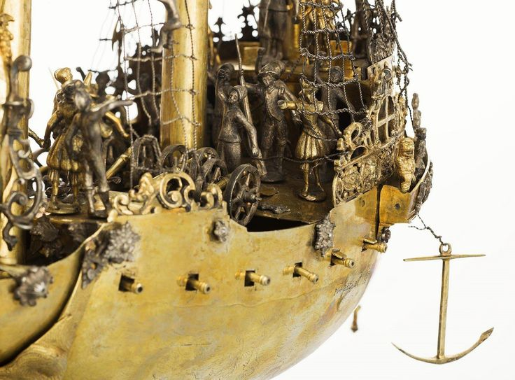 Detail of ship-shaped table decoration with the Colossus of Rhodes by Georgius Sporboth, 1580s, Kremlin Museum, commissioned by Sigismund III Vasa
