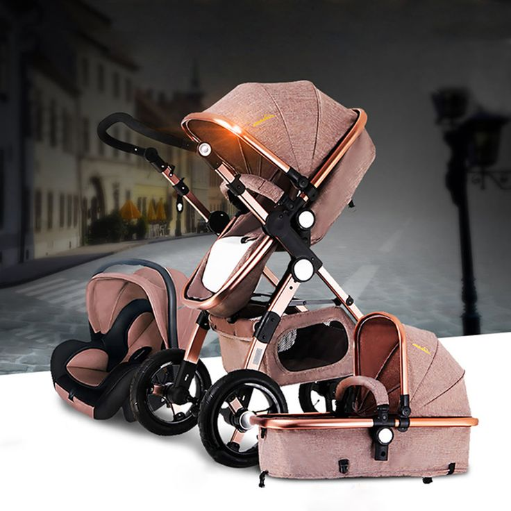baby stroller 2 in 1 3 in 1 shock folded folding newborn baby trolley gold baby Russia free shipping