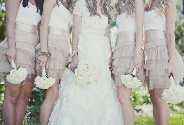 Ruffled neutral skirts with white tops and satin sash... I like!: Wedding Parties, Wedding Trends, Tulle Skirts, Color, White Tanks Tops, Wedding Blog, Neutral Bridesmaid Dresses, Cute Bridesmaid Dresses, Bridesmaid Skirts