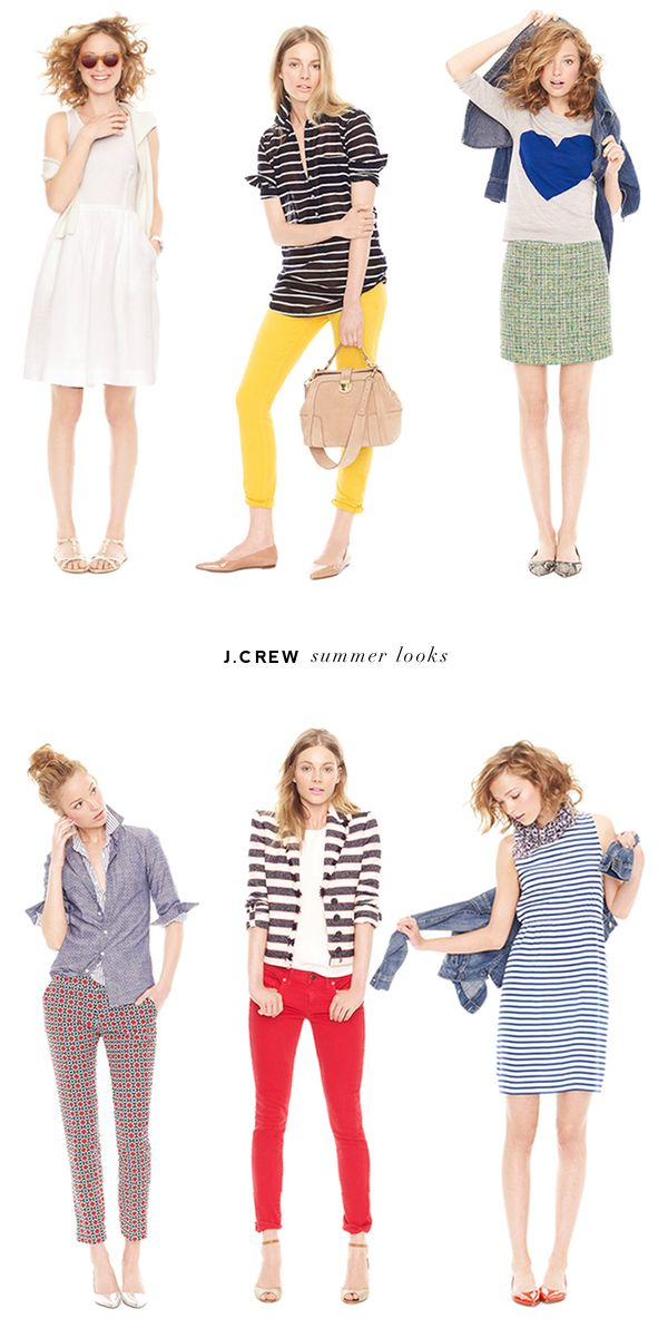 j.crew summer looks / love the striped dress with patent orangey-red flats!