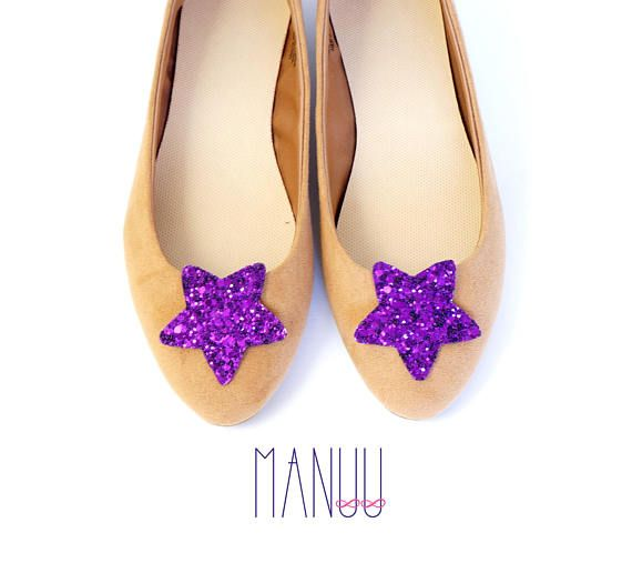 Purple glitter stars - shoe clips Manuu, Bridal shoe clips, Wedding shoe clips