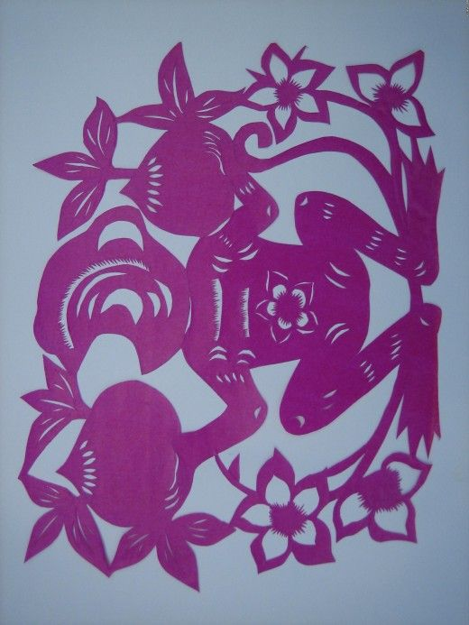 The twelve animals paper-cutting of the Chinese Zodiac---monkey