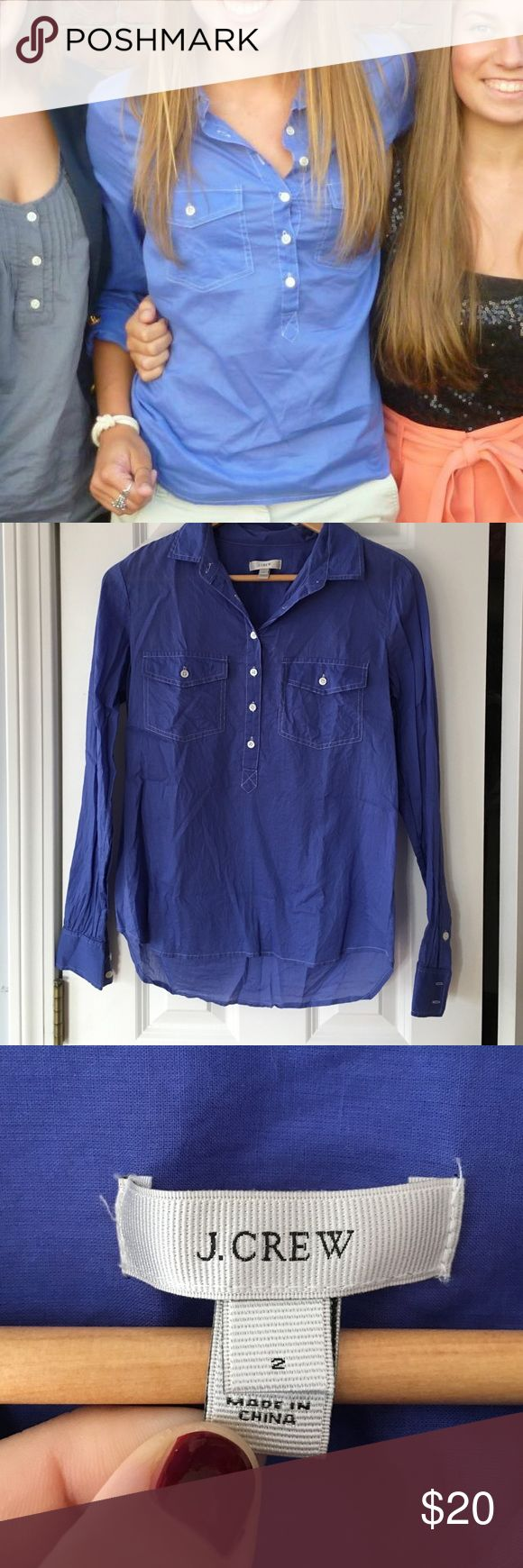 J Crew popover, size 2. Just like new. Easy, light, comfortable J Crew popover shirt. Perfect for layering with sweaters and vests or wearing in the spring and summer with shorts. Washed indigo color. J. Crew Tops Button Down Shirts