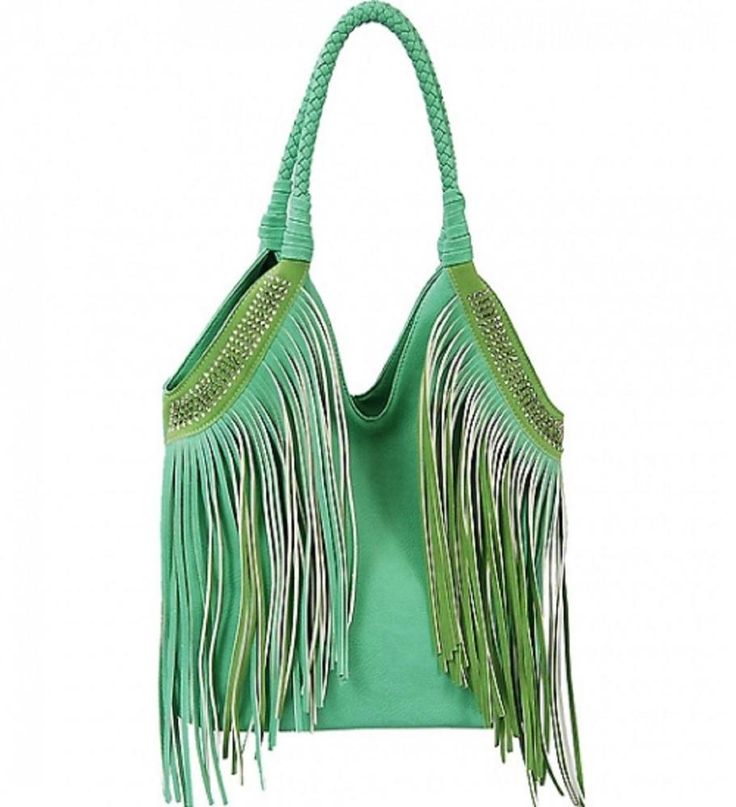 Mint Green Fashion Fringe Purse with Rhinestones  #VIETA #Hobo