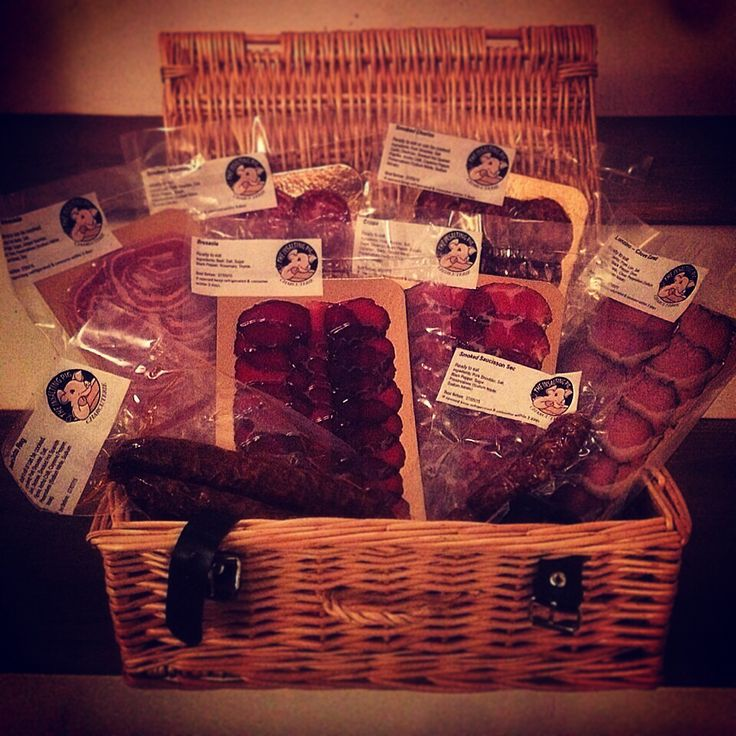 One of our charcuterie hampers. Full of chorizo, smoked saucisson sec, pancetta arrotolata, bresaola, coppa and more.