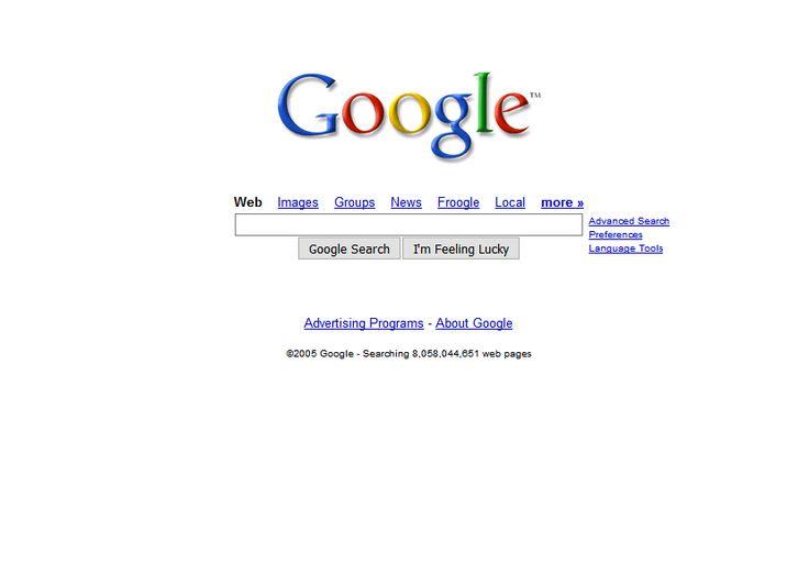 Google website in 2005