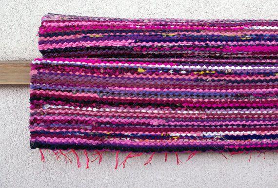 Hand woven Rag Rug  pink burgundy violet 213' x 459' by dodres, $40.00
