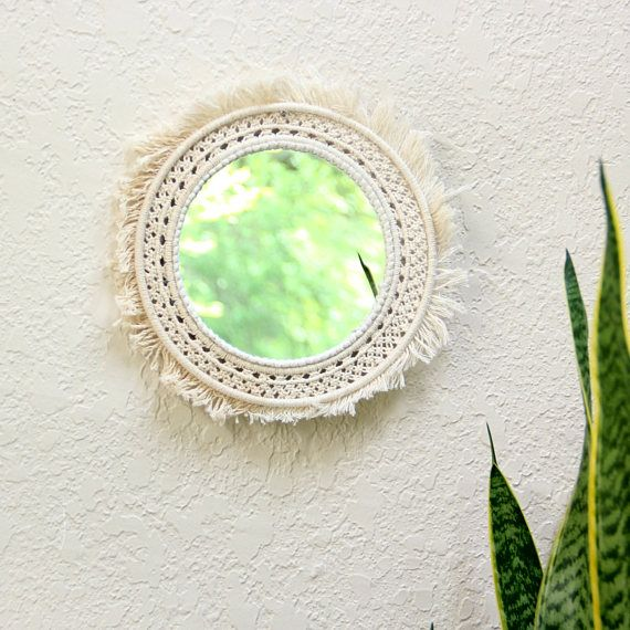 #Round #mirror #macrame Shabby chic mirror Wall mirror Round mirror wall