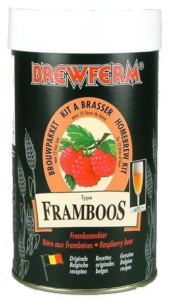 Brewferm Raspberry 12l    O bere usoara, de vara, cu un placut gust de zmeura.  S-au folosit echivalentul a 2 kg de zmeura pentr uacest kit.  Pentru ziele toride de vara sau ca aperitiv.      Ingrediente:  Extras de malt cu hamei  Drojdie speciala Brewferm  Zmeura      Greutate kit - 1.5 kg  Pentru 12 litri de bere  ABV - aprox.5.5%