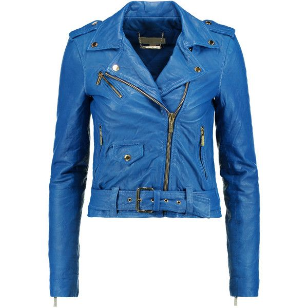 MICHAEL Michael Kors Leather biker jacket ($230) ❤ liked on Polyvore featuring outerwear, jackets, royal blue, rider leather jacket, asymmetrical zip jacket, genuine leather biker jacket, blue leather jacket and blue moto jacket