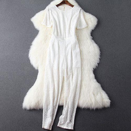 Women lace zipper waist hollow out back fashion lace jumpsuit https://bellanblue.com/collections/new