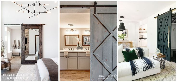 Puertas de estilo granero para sustituirlas en tu decoración de interiores de estilo farmhouse moderno 15 Claves para conseguir este hogareño estilo en tu casa. @utrillanais www.AnaUtrilla.com