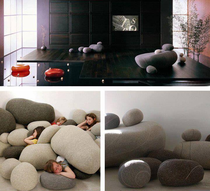 Puffs formato pedra