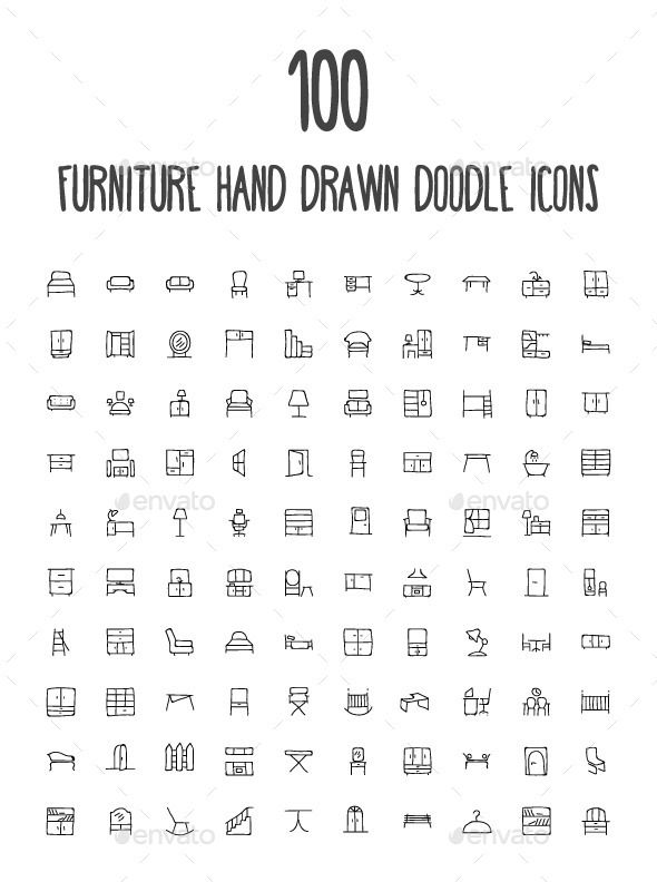 100 Furniture Hand Drawn Doodle Icon – Man-made ob…