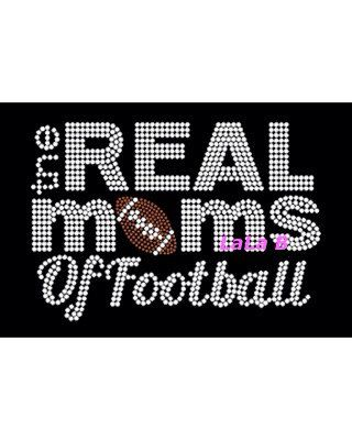 Football mom iron on hot fix rhinestone transfers - the real moms of football DIY team mascot spirit shirts - mothers school tees on Etsy, $7.99