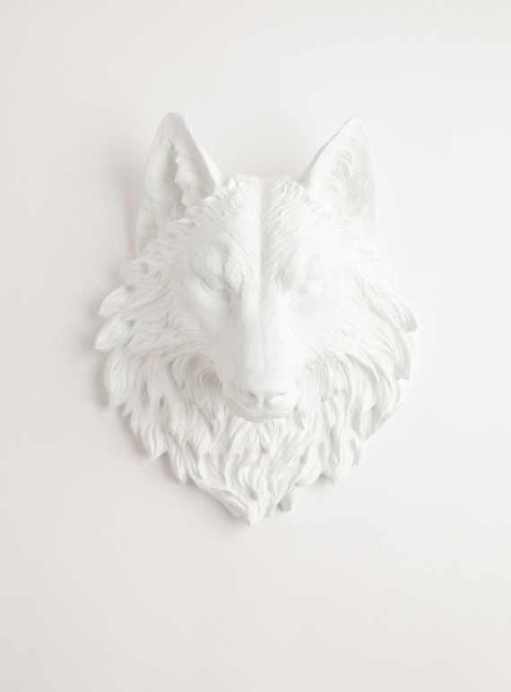 The Lincoln  White Resin Wolf Head Resin by WhiteFauxTaxidermy, $119.99