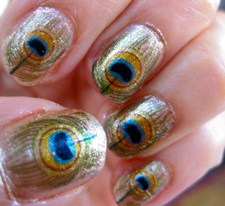 nail decals: Peacock Feathers, Nail Decals, Peacocks, Oshun Nail, Peacock Nails, River Orisha, Feather Nail, Decals River, Nail Art