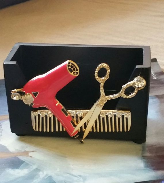HairStylist Business Card Holder/Blow dryer by TheBohemianGypsy