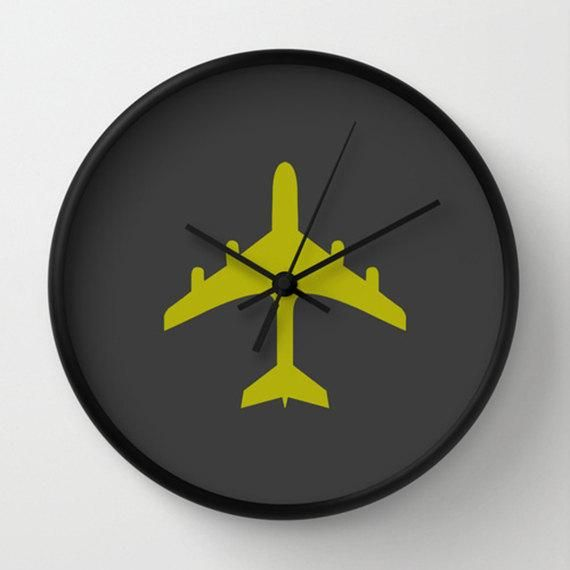 Airplane Wall Clock Chartreuse And Charcoal Wall Clock Original Design Home Decor By Adidit In 2020 Airplane Wall Wall Clock Charcoal Walls