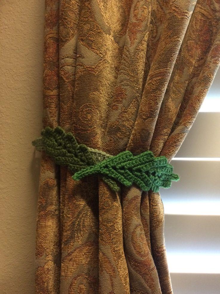 Crochet Curtian/drapery Tieback. Leaf (dark green) by JinesCrafts on Etsy