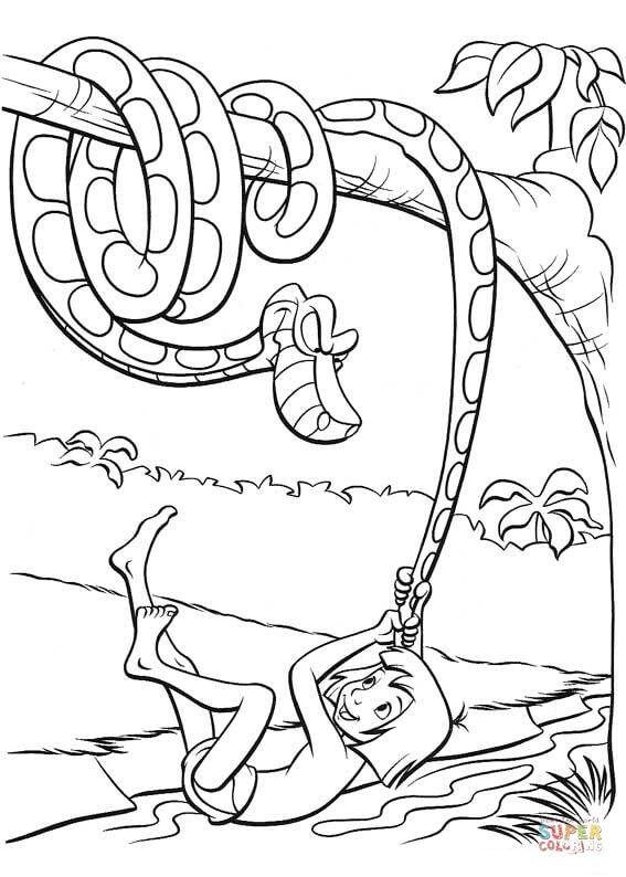 Mowgli Plays With A Tail Of Kaa Python Super Coloring Ausmalen Lustige Malvorlagen Disney Dschungelbuch