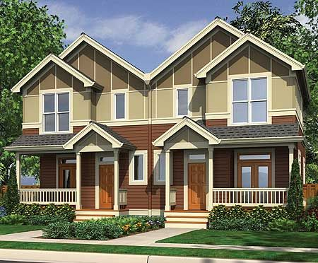 Plan 69464am narrow lot multi family home house plans for Narrow lot duplex