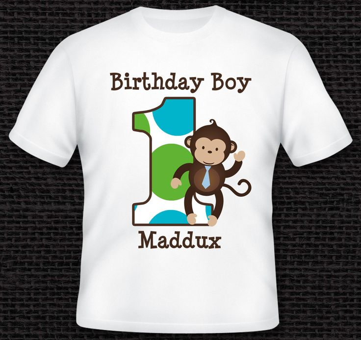 Personalized Mod Monkey Birthday Shirt - T-Shirt - TShirt - Infant Bodysuit - Tee for Boys, Girls, Kids Adults - Custom with ANY AGE or NAME by One Whimsy Chick - 100% Cotton Handmade in the USA. 100% Cotton Personalized T-Shirt or Onesie - See Size Chart for correct sizing.