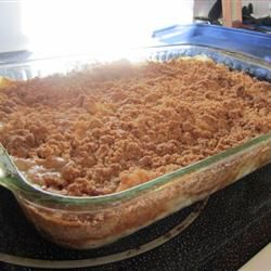 Easy Apple Crisp Allrecipes.com Need: 6 apple - peeled, cored and sliced;  1 c. water;  1 (18.25 oz) pkg white cake mix;  1 c. packed brown sugar; 1 tsp ground cinnamon;  1/2 c. butter, melted.  (other options: add cinnamon & nutmeg to apples, add oats to topping, add a couple extra apples, add vanilla to water/apples.)