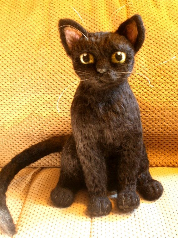 Black Cat Green Eyed Needle Felted Sculpture OOaK by LaCharmour, $150.00