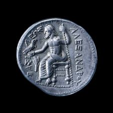 Silver tetradrachm of Alexander the Great found in Amphipolis , Macedonia Greece, 336-323 BC