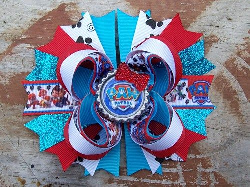 Paw Patrol Inspired 5 Inch Stacked Boutique Bow