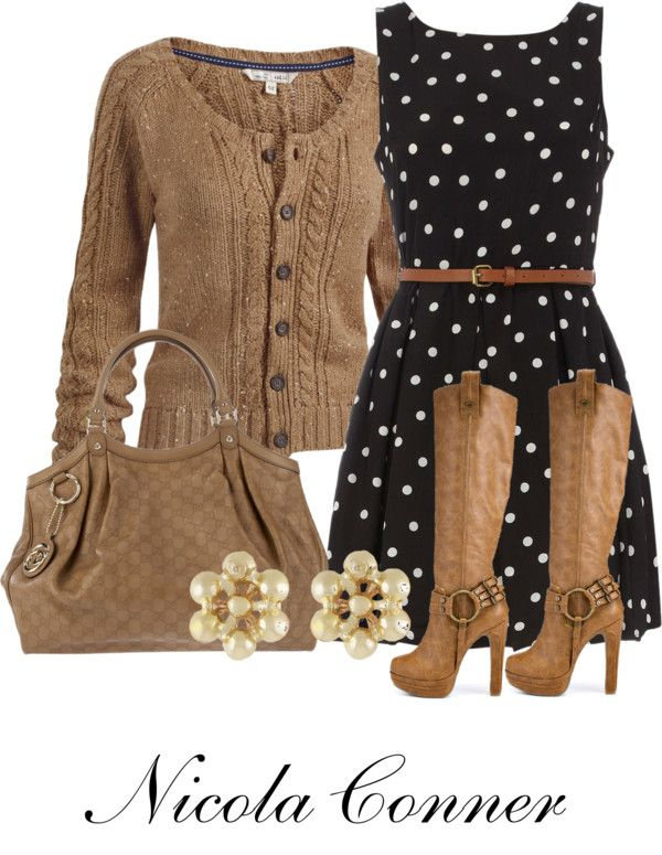 """""""Polka Dots"""" by nicola-conner ❤ liked on Polyvore. Gorgeous boots! And the cardigan looks lovely & cosy."""