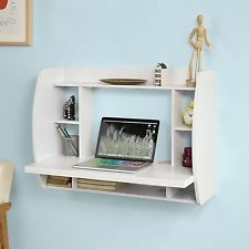 Wall Mounted Computer Desk Small White Table PC Study Writing Storage Shelf Desk