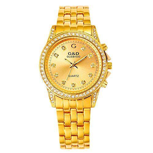 harwish Damen-Quarz-Uhrwerk Edelstahl Armband mit Diamant Fall Armbanduhr Gold - http://uhr.haus/harwish/harwish-damen-quarz-uhrwerk-edelstahl-armband