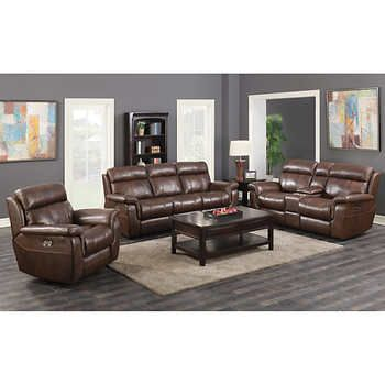 Davis 3 Piece Top Grain Leather Reclining Set