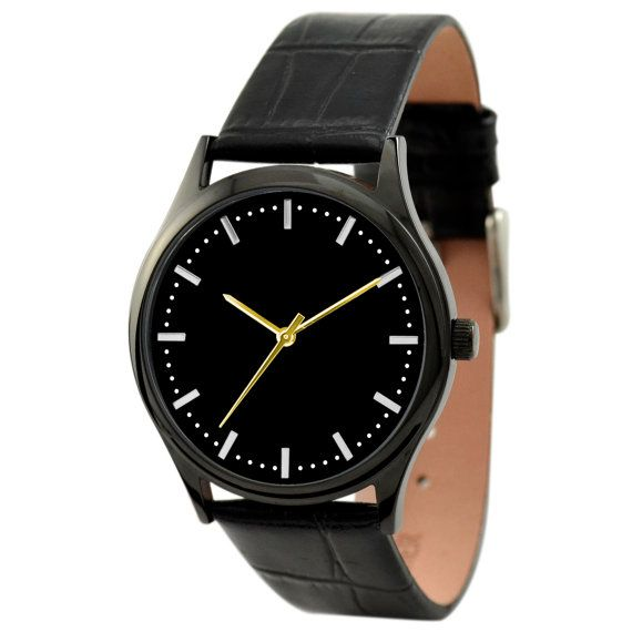 Minimalist  Watch Black backgroud / Stripes and dots by SandMwatch