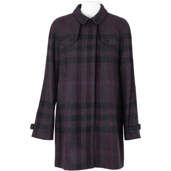 Pre-owned Burberry Wool Coat ($650) ❤ liked on Polyvore featuring outerwear, coats, black, wool lined coat, wool coat, fur-lined coats, woolen coat and burberry