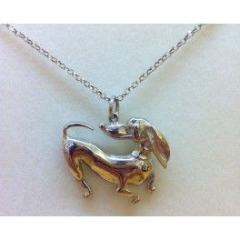 Collana in argento 925 con cane bassotto