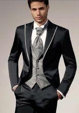 Atacado Custom Made homens terno do casamento 2015 do noivo smoking homens padrinhos terno paletó + calça + Tie + colete terno do noivo(China (Mainland))