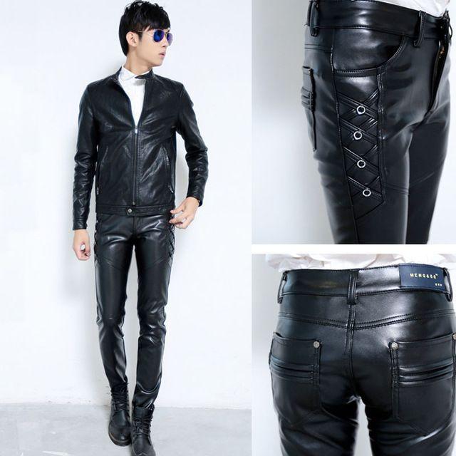 Nieuwe Mens Elastische Kunstleer Broek PU Motorcycle Ridding Zwart Slim Fit Broek Voor Mannelijke