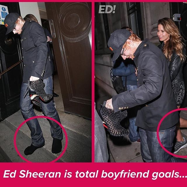 Ed Sheeran rescued his girlfriend when she broke a heel at the Brits. He carried her shoes and gave her his to wear, how sweet is that?