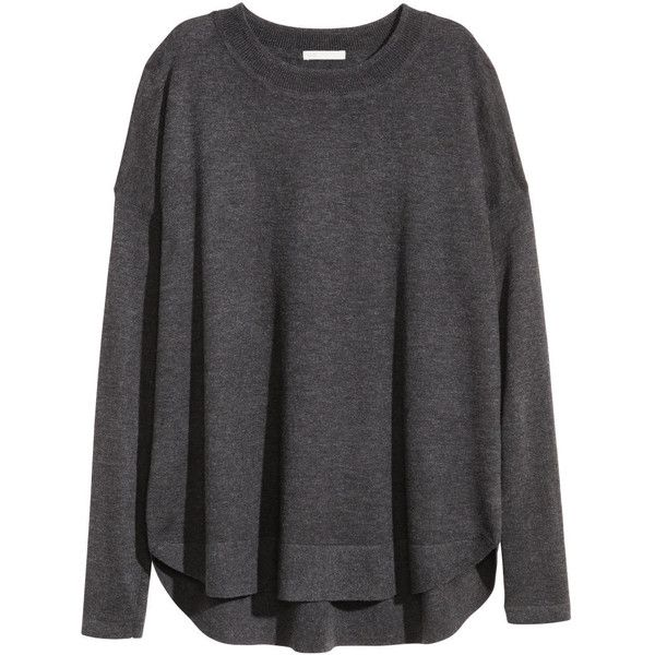 H&M Jumper in a wool blend ($31) ❤ liked on Polyvore featuring tops, sweaters, grey, h&m, dark grey, jumper shirt, dark grey sweater, h&m tops and slit shirt