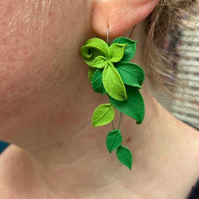 Gift for Mom Earrings Ceramic Earrings Yellow For Her Unique Earrings Gift Statement Earrings Leaf Earrings Green Leaf Earrings
