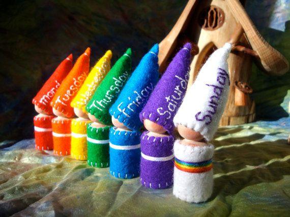 Días del calendario semana arco iris gnomos por paintingpixie, $84.00