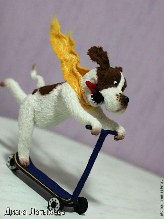"""Купить """"Э-эх, с ветерком!!!"""" - коричневый, белый, желтый, собака, пес, тедди, игрушка, веселый"""