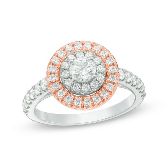 1 CT. T.W. Diamond Double Frame Engagement Ring in 10K Two-Tone Gold